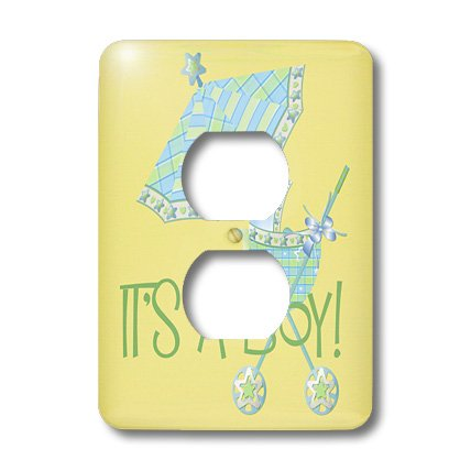 Lsp_45154_6 Tnmgraphics Children - Its A Boy Stroller And Umbrella - Light Switch Covers - 2 Plug Outlet Cover