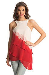 PrettySecrets Women's Top (PSW14BLS13_White and Red_L)