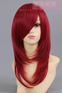 wine red Long straight cosplay wig LUKE Luke wine red wig Soul Eater Subilite abyss cosplay wig