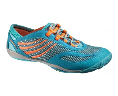 MERRELL Pace Glove Ladies Running Shoe, Blue/Orange, US6.5