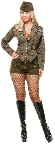 Charades Women's Lt Leila Army Girl Costume