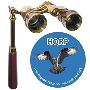 Hqrp 3 X 25 Opera Glass Binocular With Built-in Extendable Handle / Burgundy With Gold Trim
