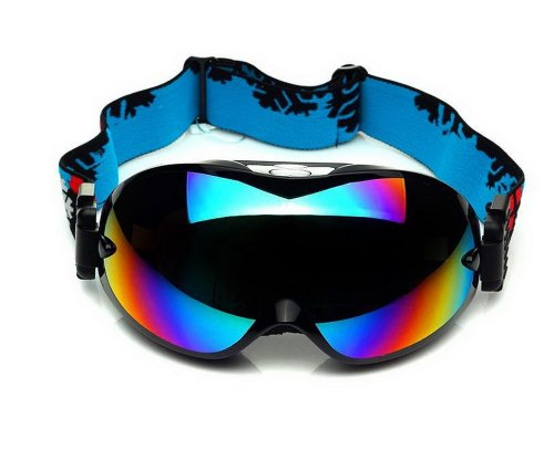 Pro Ski Goggles For Adult Coated Colorful Lens Dual-Layers Goggles, Cool Black