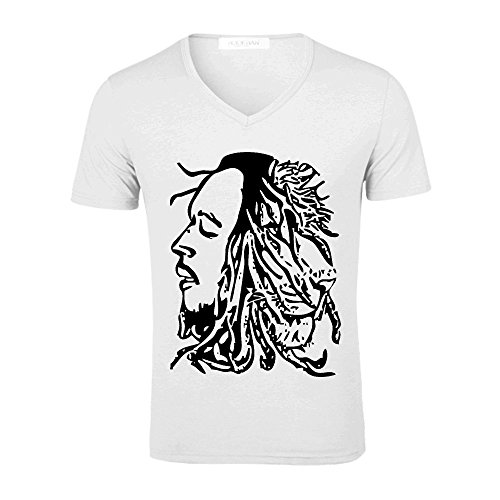 bob marley v ausschnitt kurzarm herren t shirts wei. Black Bedroom Furniture Sets. Home Design Ideas