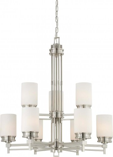 Nuvo 60/4709 Wright Two Tier Brushed Nickel Nine Light Chandelier Nuvo B005B7PPB6