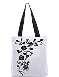 Snoogg Vector Graphic Of Rose With Leaves Designer Poly Canvas Tote Bag
