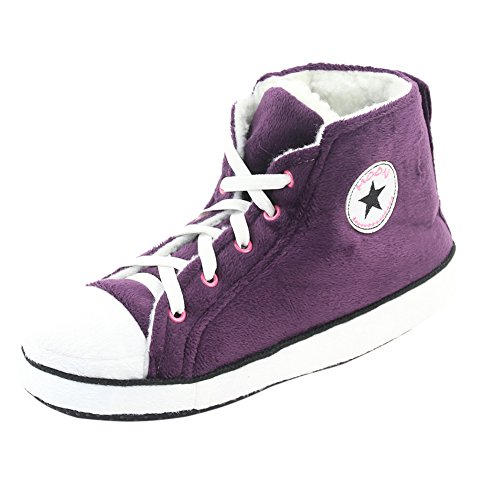 Gohom Women's Fun Soft Chinese Indoor Slipper Boots House Dark Purple&White US 7 (Cool Slippers For Women compare prices)