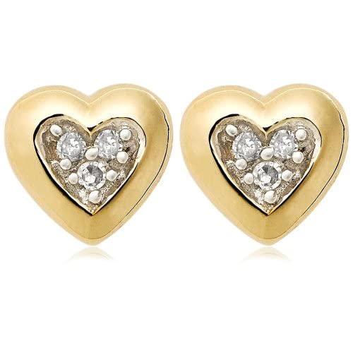 10k Yellow Gold Diamond Heart Earring
