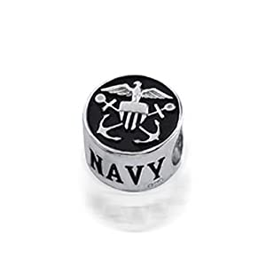 Bling Jewelry Patriotic 925 Silver US Navy Bead fits Pandora Biagi Troll Charms from Bling Jewelry