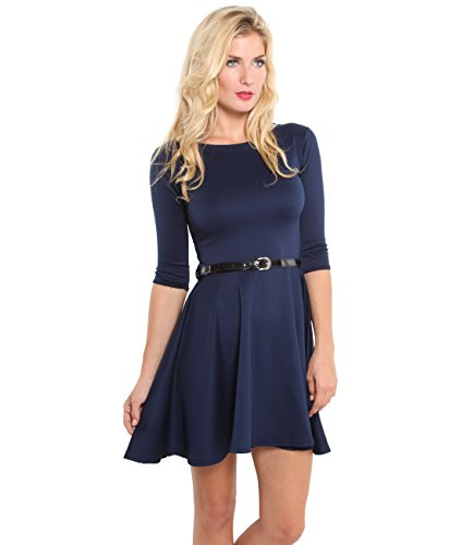9072,KRISP Womens 3/4 Sleeve Belted Flare Skater Dress Pleated Slimming Mini Tunic(Navy,10)