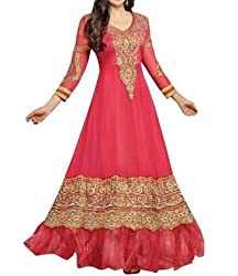Arati Creation Women's Georgette Unstitched Dress Material (XYZ5_Pink_Free Size)