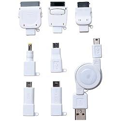 PLANEX FOMA/3G/au/Dock/PSP/DS/MicroUSB/miniUSB用巻取り式充電ケーブル ホワイト BN-MUS7CW