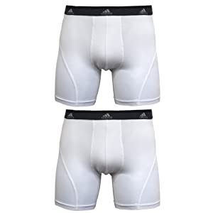 adidas Men's Sport Performance Climalite 2-Pack Boxer Brief, White/White, Medium
