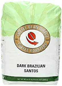 Dark Brazilian Santos, Whole Bean Coffee, 5 Pound Bag