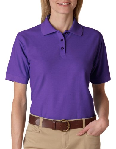 8541 UltraClub Women's Whisper Pique Plain Polo Shirt L Purple