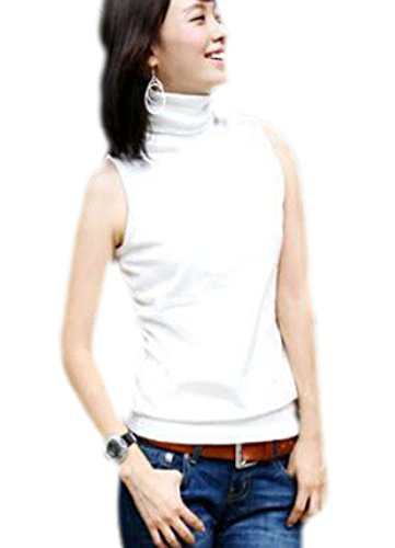 Women's Cotton Basic Ribbed High Collar Sleeveless Tank Tops (White)