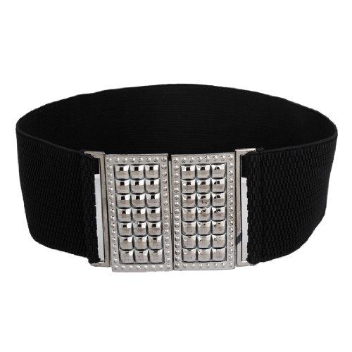 Square Faced Design Interlocking Buckle Elastic Waist Belt for Ladies