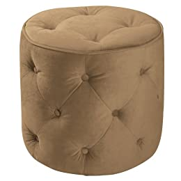 Product Image Curves Tufted Round Ottoman - Coffee