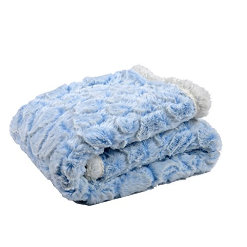 Tadpoles Cut Fur Baby Blanket with Sherpa Backing, Blue