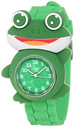 Frenzy Kids FR2002 Frog Critter Face Green Band Childrens Watch