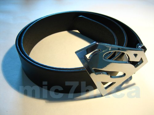 Fancy dress SUPERMAN big buckle black leather belt (SHINY CHROME) (Adult size)