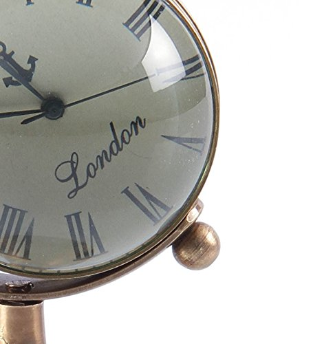 Antique Retro Vintage-Inspired Brass Metal Craft World Globe Table Clock Home Decor - 1.8 Inch 4