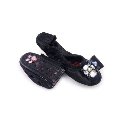 Redfoot Shoes Dita Black After Party Folding Packable Ballet Flats