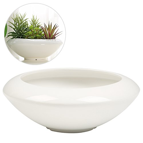 MyGift 12 Inch Round Ceramic Succulent Planter Pot, Tapered Display Bowl, White