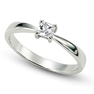 Sterling Silver Cubic Zirconia Solitaire 0.1 Carat tw Princess Cut CZ Engagement Ring, Nickel Free Sz 6 from Metal Factory