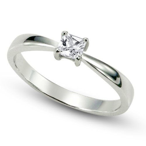 Sterling Silver Cubic Zirconia Solitaire 0.1 Carat tw Princess Cut CZ Engagement Ring, Nickel Free Sz 10
