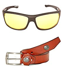 MagJons Combo Of Brown Leather Belt And NightDriving Safty Sunglasses For Men With Box