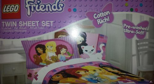 Lego Friends Girl Bedding- 3 Piece Twin Sheet Set