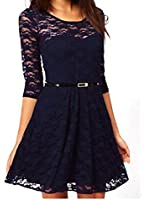 OURS Women's Spoon Neck 3/4 Sleeve Lace Skater Dress with Belt