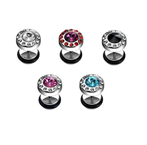 Paula & Fritz falso estensore in acciaio INOX chirurgico 316L rotondo zirconi circondato di zirconi colori presenti in Set con 5 colori, incolore, nero, rosa, fucsia PSFX-08 5er-