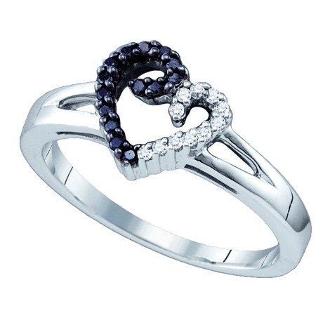 Sterling Silver 0.17 Carat (ctw) Micro-Pace Heart Ladies Black Diamond Ring