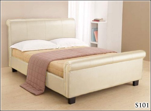NEW 5ft CREAM FAUX LEATHER SLEIGH KINGSIZE SCROLL BED