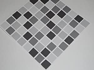 pack of 10 black mosaic tile transfers stickers black peel and