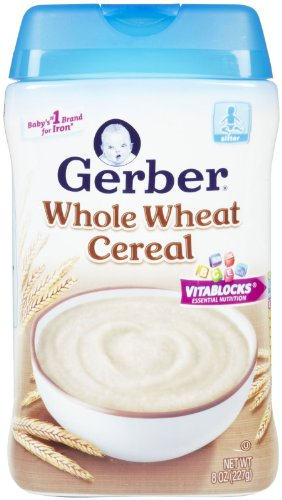 Gerber Whole Wheat Cereal Baby Food 8 Oz (Pack Of 12) front-255103