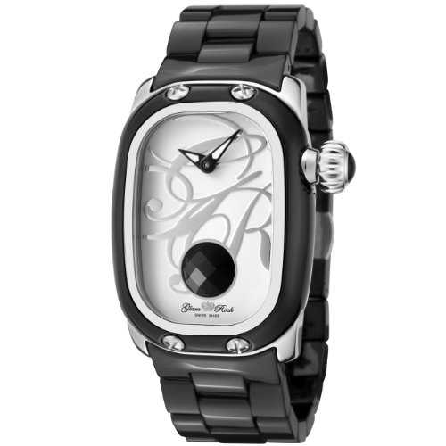 Glam Rock Mujer GR72015 Monogram White Enamel Dial Black Ceramic Reloj