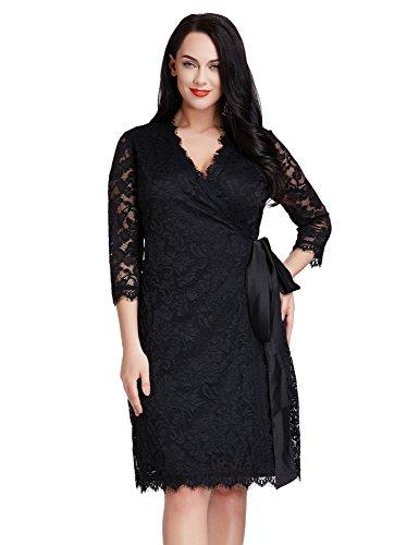 LookbookStore Women's Plus Size Black Lace 3/4 Sleeves Formal True Wrap Dress 2X