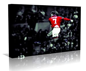 Eric Cantona Manchester Utd. Framed Canvas Art Print - Contemporary Art - Football Art - Framed Ready to Hang - Buy two or more get Free UK Delivery - Oneblankwall , 20 inch x 24 inch