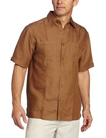 Cubavera Men's Short Sleeve Woven Shirt With Two Pockets, Otter, Large