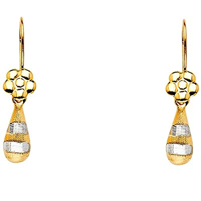 Wellingsale® Ladies 14k Two Tone Gold Polished Fancy Dangle Hanging Drop Earrings (5 x 20mm)