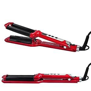 Vinmax Hair Waver Curler Hair Styler Triple Barrel Rollers Iron Curling Wave Ceramic Styler Artist Crimper (rose red) by Vinmax