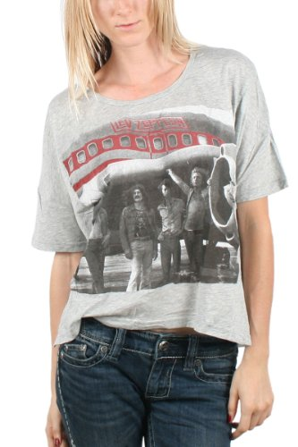 Led Zeppelin - Womens Zep Plane T-Shirt In Heather Grey, Size: Small/Medium, Color: Heather Grey