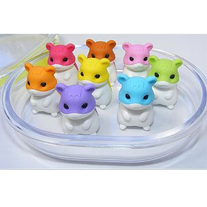 8 Hamster Erasers in a Box
