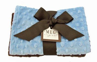 Meg Original Minky Dot Burp Cloth, Set Of Two 9X17 Blue/Brown front-838375