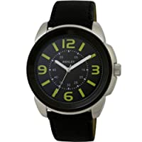Henley Men's Quartz Watch with Black Dial Analogue Display and Black Bold Silicone Strap H02036.19