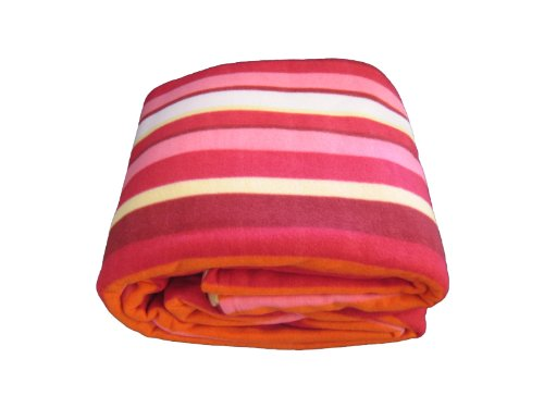 Dada Bedding Bl6116061 Striped Polar Fleece Blanket, Queen, Red And Orange front-967522