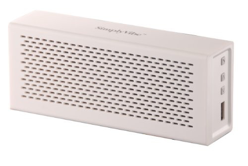 Simplyvibe V5-Bt1-White Wireless Bluetooth Speakers With Built-In 18-Hour Rechargeable Battery And Hands-Free Speakerphone, White